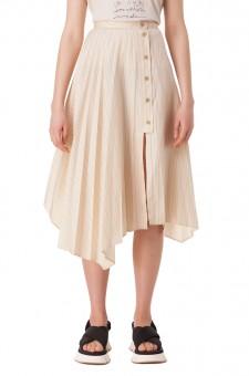 Асимметричная плиссированная юбка в полоску