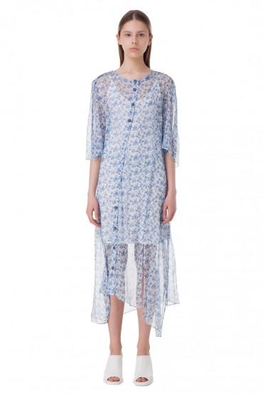 Асимметричное платье с цветочным принтом ACNE STUDIOS ACw10018