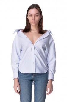 Рубашка в полоску с деталью из сетки