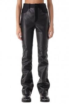 Удлиненные кожаные брюки
