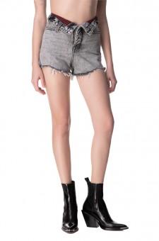 Джинсовые шорты с отложным поясом
