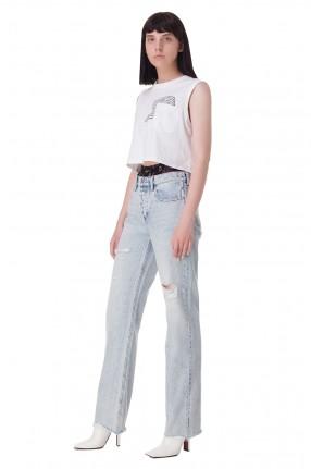 ALEXANDER WANG Удлиненные джинсы с эффектом потертостей