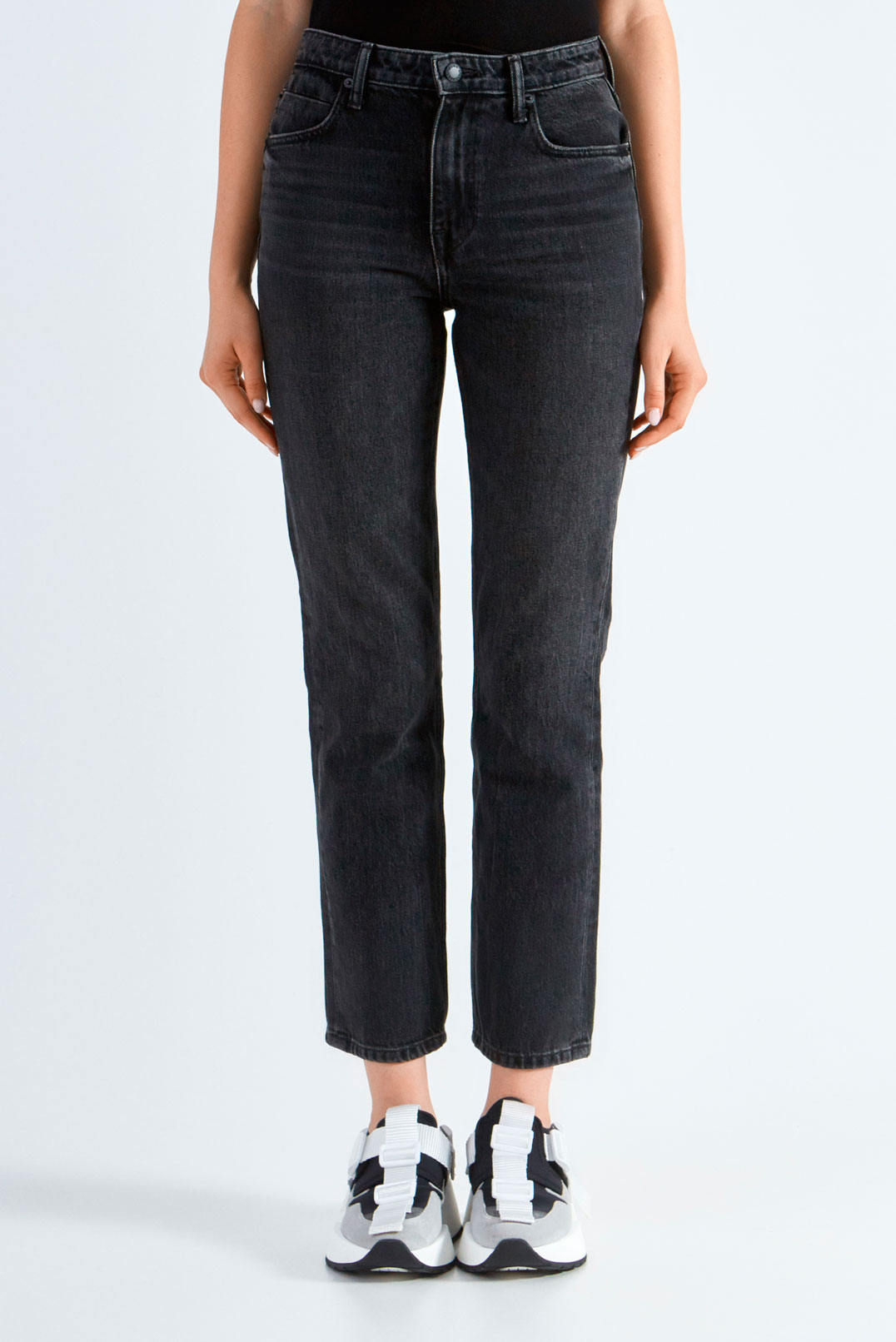 Укороченные джинсы с потертостями ALEXANDER WANG ALWd29012