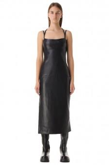 Платье-комбинация из эко-кожи