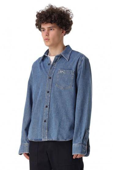 Джинсовая рубашка AMI PARIS AMIm11007