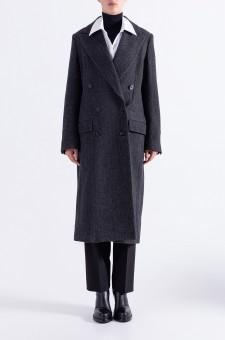 Двубортное пальто 'в елочку'