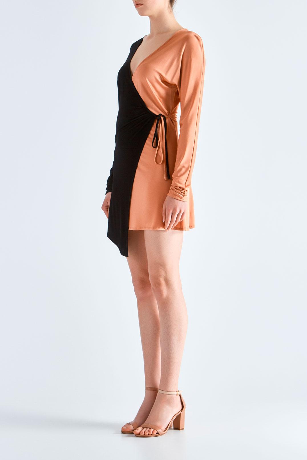 Двухцветное платье на запах THE ATTICO ATIC19003