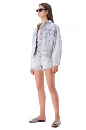 ALEXANDER WANG Джинсовая куртка oversize в логотипах