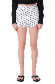 Джинсовые шорты с logo-принтом