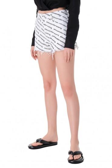 Джинсовые шорты с logo-принтом ALEXANDER WANG AWdp11007