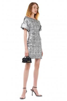 CHRISTOPHER KANE Асимметричное платье с анималистическим принтом