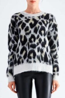 Леопардовый свитер oversize