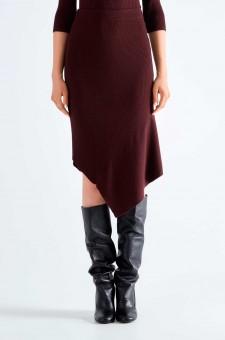 Асимметричная юбка в рубчик