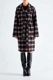 Двубортное пальто oversize в клетку