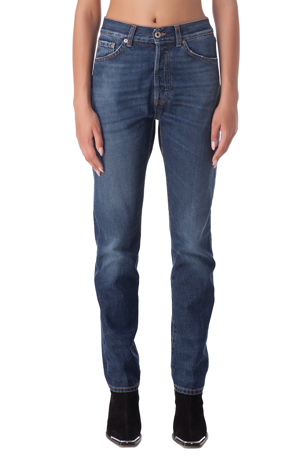 Удлиненные джинсы c эффектом потертостей DONDUP DND20005