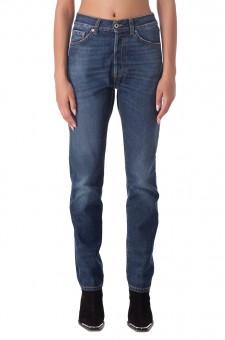 Удлиненные джинсы c эффектом потертостей