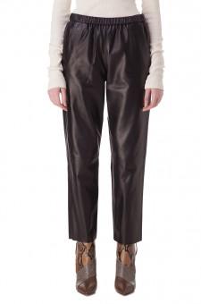 Укороченные кожаные брюки