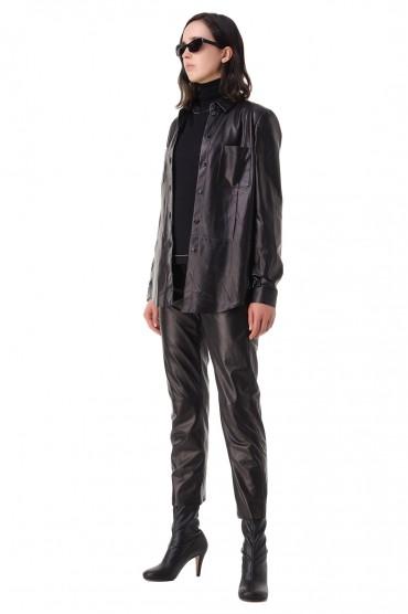 Укороченные кожаные брюки DROME DRM21003