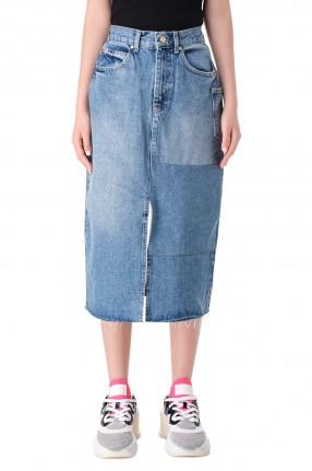 ESSENTIEL ANTWERP Джинсовая юбка с эффектом потертостей