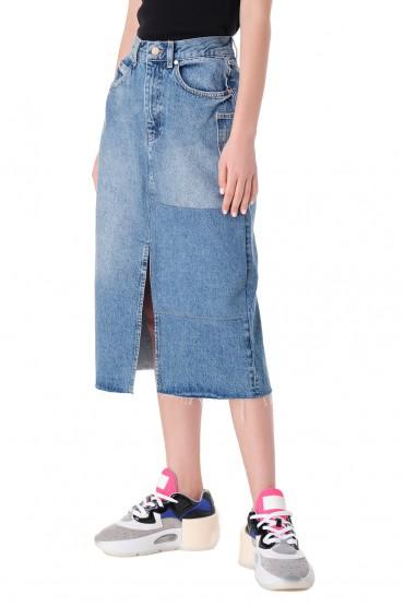 Джинсовая юбка с эффектом потертостей ESSENTIEL ANTWERP ESAw11005