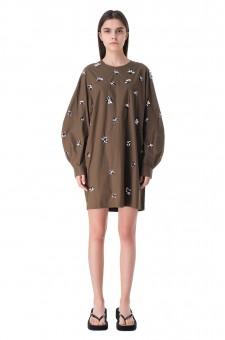 Платье с вышивкой из бисера и пайеток