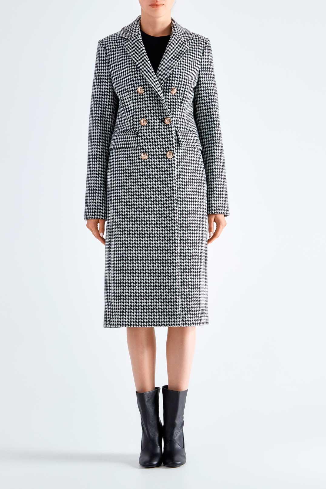 Двубортное пальто в гусиную лапку ESSENTIEL ANTWERP ESAw29004