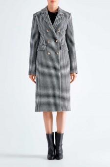 Двубортное пальто в гусиную лапку