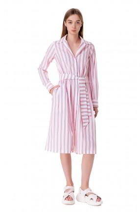 ETRE CECILE Платье-рубашка в полоску со съемным поясом