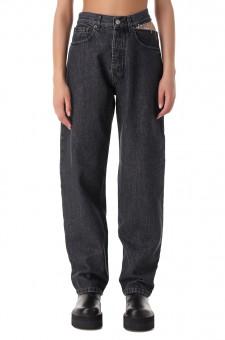 Удлиненные джинсы с разрезом