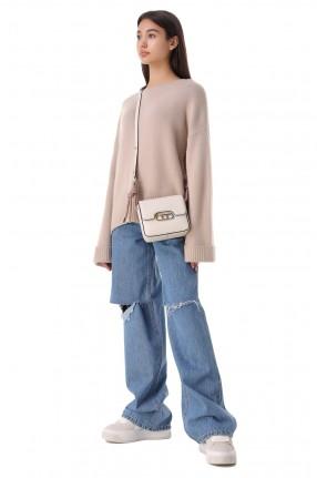 FORTE DEI MARMI COUTURE Удлиненные джинсы с эффектом потертостей