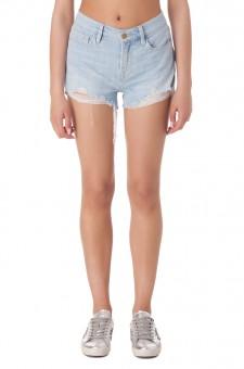 Джинсовые шорты с эффектом потертостей