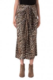 Драпированная леопардовая юбка на завязках