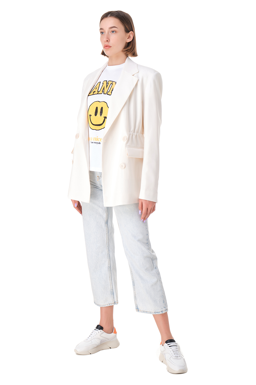 Укороченные джинсы GANNI GANp11031