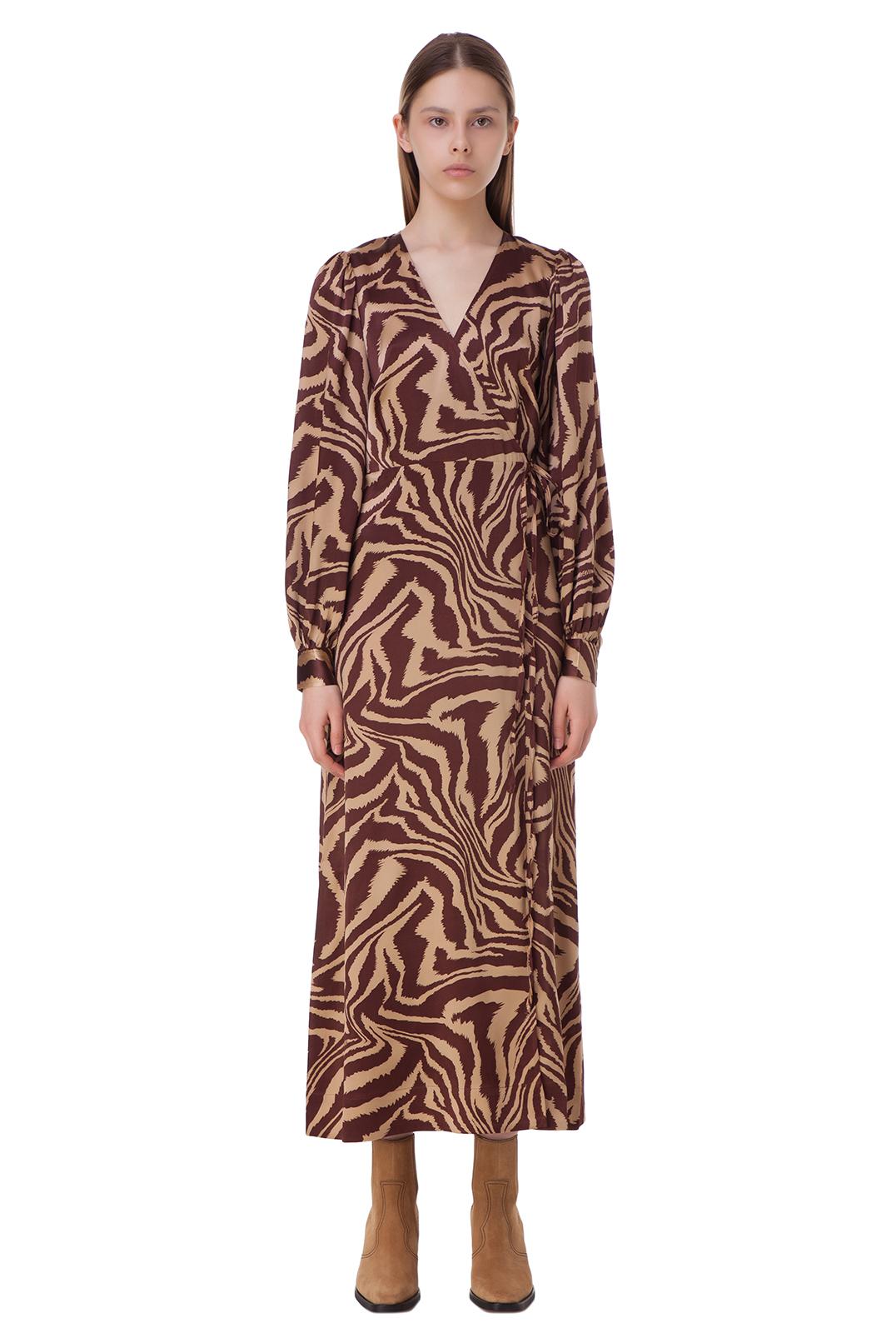 Платье на запах с принтом GANNI GANw10011