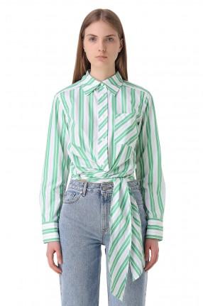 GANNI Укороченная рубашка в полоску
