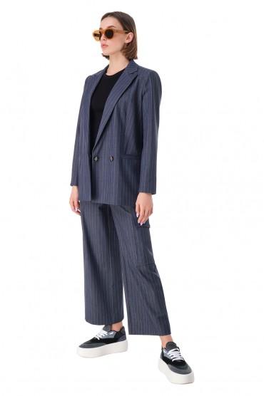 Двубортный пиджак в полоску GANNI GANw11027