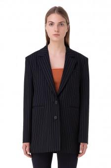 Удлиненный пиджак oversize в полоску
