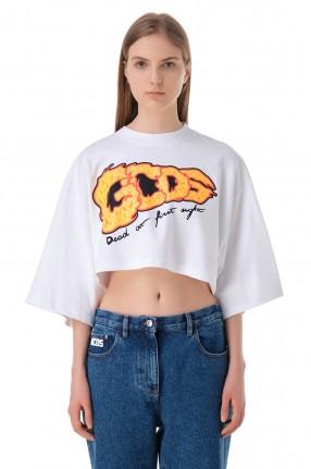 GCDS Укороченная футболка с логотипом