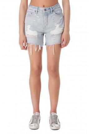 GRLFRND Джинсовые шорты с эффектом потертостей