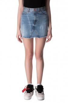 Джинсовая юбка с эффектом потертостей