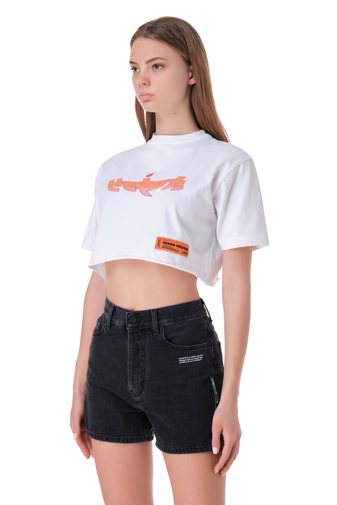 Укороченная футболка с принтом HERON PRESTON HPw11007