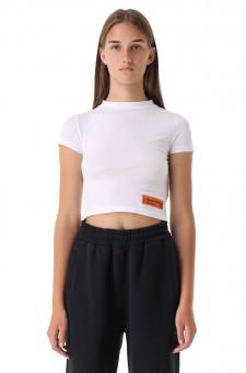 Укороченная футболка с принтом