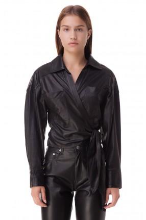 IRO Укороченная кожаная блуза на завязках