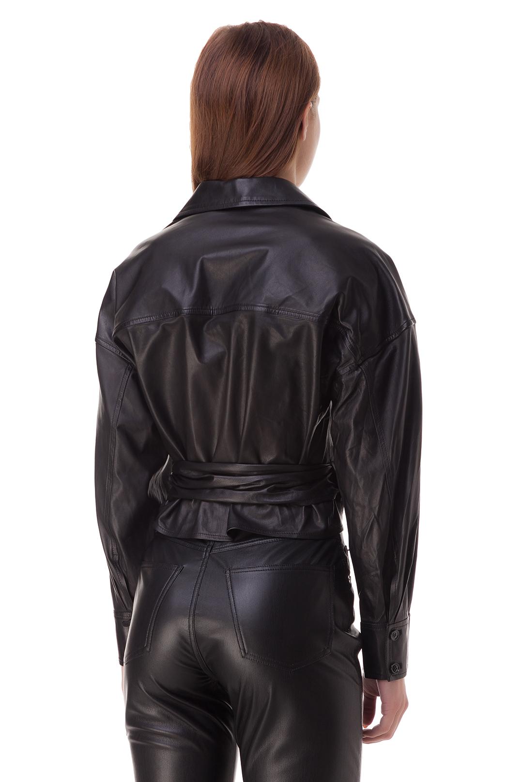 Укороченная кожаная блуза на завязках IRO IROp20031