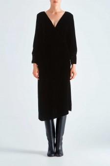 Бархатное асимметричное платье