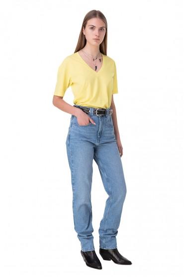 Удлиненные джинсы с эффектом потертостей ISABEL MARANT ISBp10007