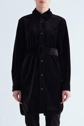 MO&CO Бархатное платье-рубашка