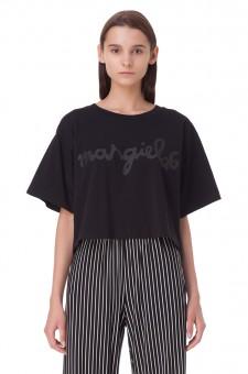 Укороченная футболка oversize с логотипом