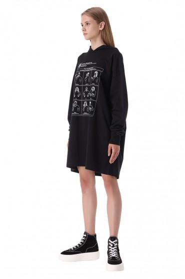 Платье-худи с принтом MM6 MAISON MARGIELA MM621007