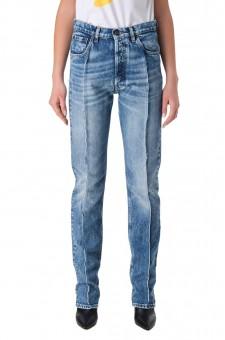Удлиненные джинсы с эффектом потертостей